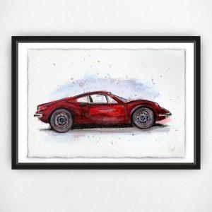 Ferrari Dino Rosso - Original Watercolour